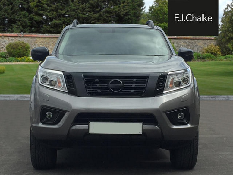 Front of de-chromed grey Nissan Navara